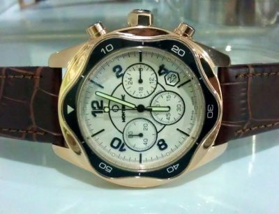 Rose Gold MONTBLANC Chronograph Watch Leather Strap